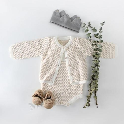 2020 Baby Girl Set Cardigan Jacket and Ha-Shirt Baby Climbing Dress