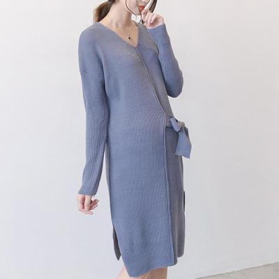 Maternity V-Neck Long Sleeve Sweater Dress