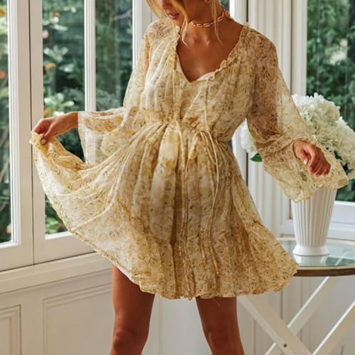Maternity V Neck Long Sleeve Printed Dress