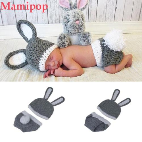 Newborn Baby Knitwear Rabbit Hat Handmade Crochet Cosplay Costume
