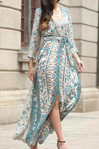 Bohemian V-Neck Printed Split Maxi Dress