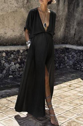 Maternity Mid-Sleeve Split Dress