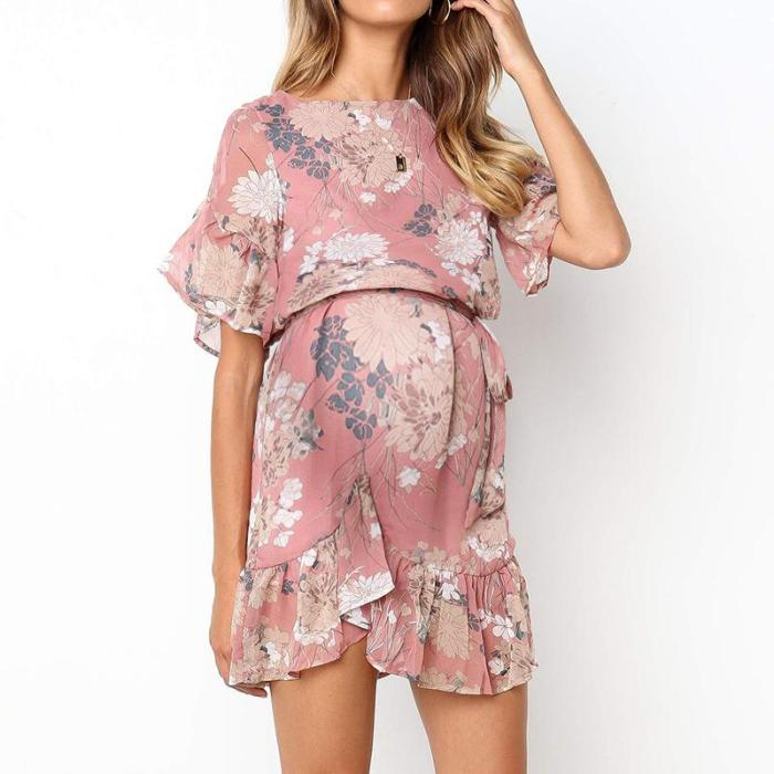Maternity Sweet round neck print ruffled lace dress
