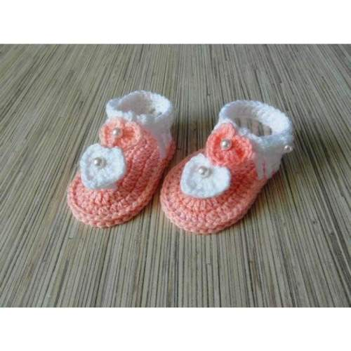 Crochet Pink White Baby Summer Shoes (Size:0-6M)