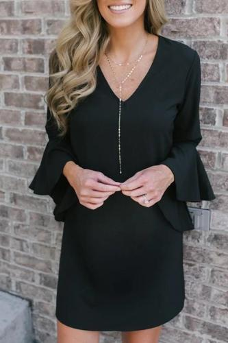 Maternity Casual V Neck Pure Colour Dress