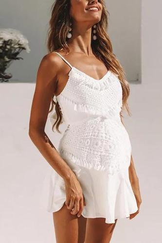 Maternity Lace Fringed Stitching Strapless Halter Dress