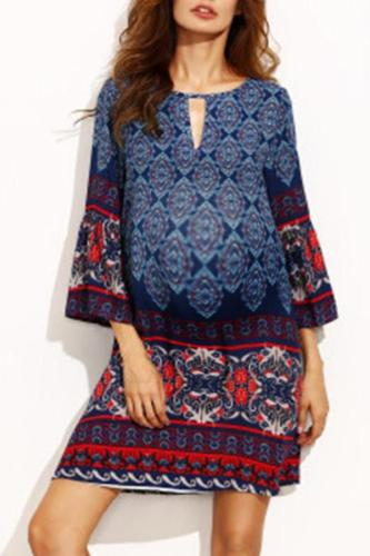 Maternity O-Neck Bohemia Printing Casual Dress