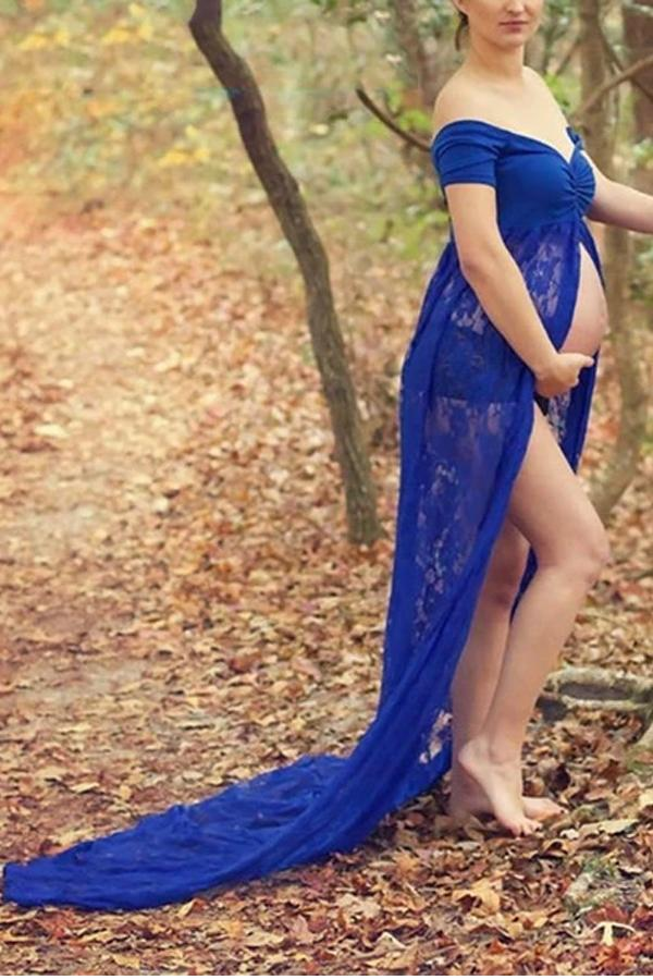 Maternity Sexy Word Collar Solid Color Stitching Lace Pleated Mop Split Dress