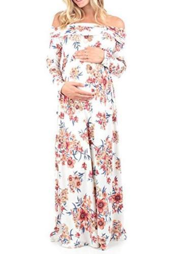 Maternity Off Shoulder Floral Print Full Length Dress