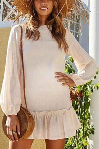 Maternity Long Sleeve Pleated Loose Casual Dress