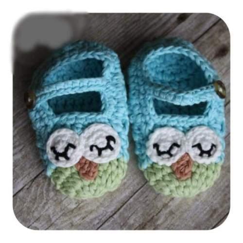 Owl Crochet Handmade Baby Unisex Bootie Cotton Blend (3-6 mos)