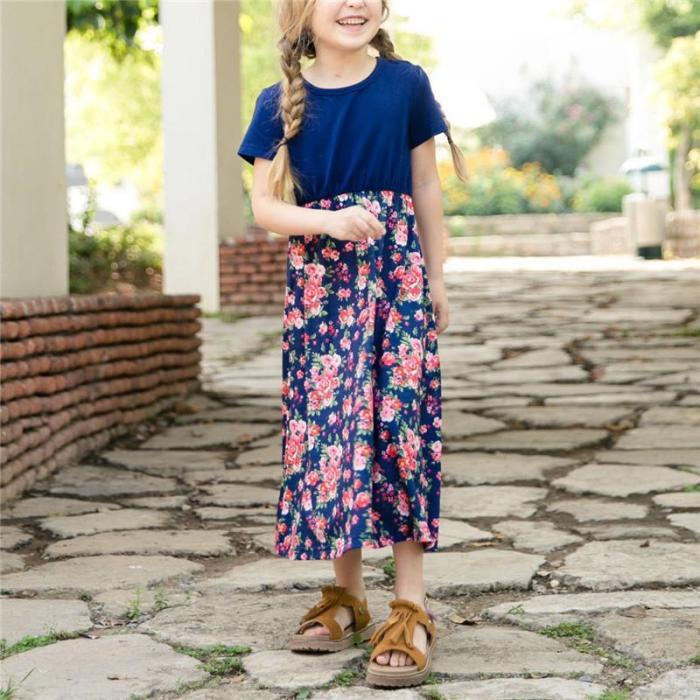 Mom Girl Flower Print Matching Dress