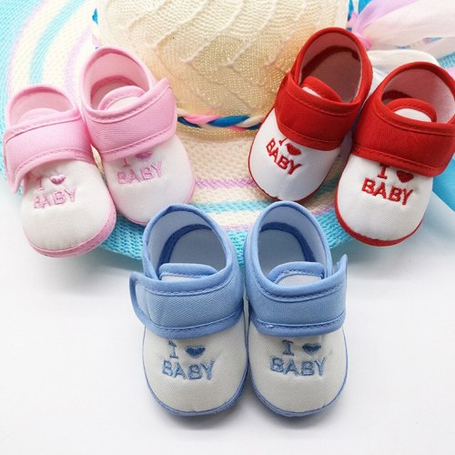 Newborn Infant Baby Girls Boys Printing Cartoon Prewalker Soft Sole Shoes I Love Baby Letter Print First Walker#35