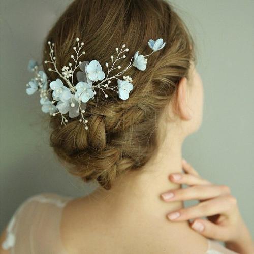Trendy Blue Flower Wedding Hair Jewelry Pearl Women Hair Ornaments