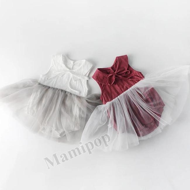 Summer Baby's Sleeveless Baby Collar Mesh Triangle Skirt