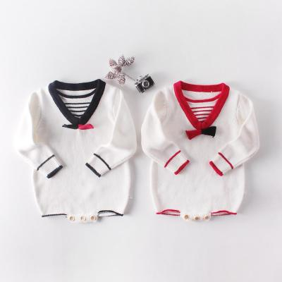Fall New Baby School Style Striped Knitted Wool One-piece Suit