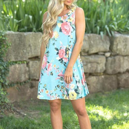 Maternity Floral Print Sleeveless Short Dress