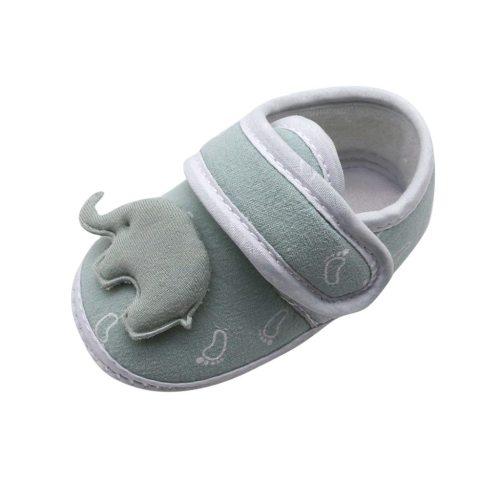 Infant Newborn Baby Girls Boy Prewalker Printing Elephant Applique Single Shoes High Quality Cotton Comfortable Daily