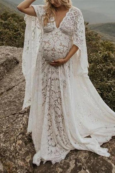 Maternity Fashion Loose Lace Long Sleeve Maxi Dress