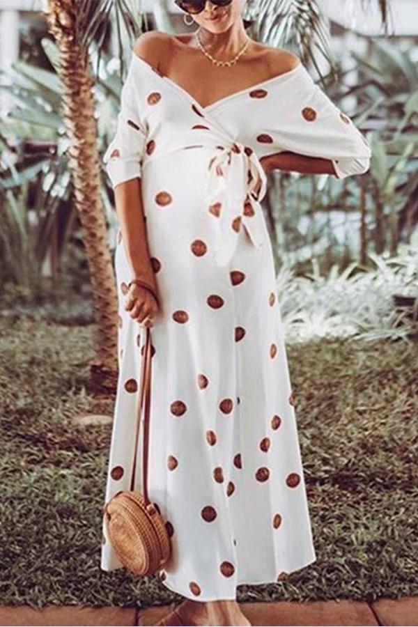 Maternity Polka Dots V-Neck Maxi Dress