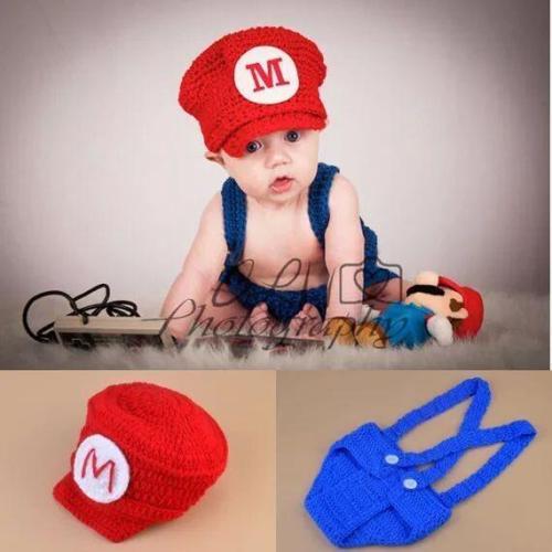 Newborn Baby Super Mario Inspired Beanie Hat&Diaper Cover