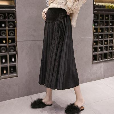 Maternity Loose Pure Color Pleated Skirt
