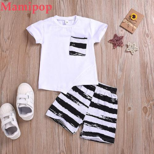 Summer Infant Outfits Sets New Fashion Baby Short Sleeve Solid T-Shirt Tops