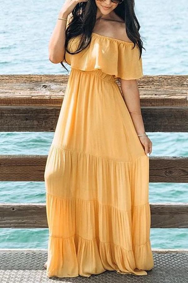 Maternity Yellow Off Shoulder Dress