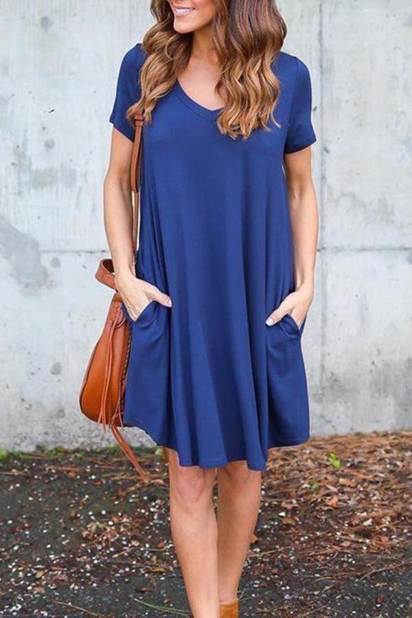 Fashion V-Neck Side Pocket Short Dress