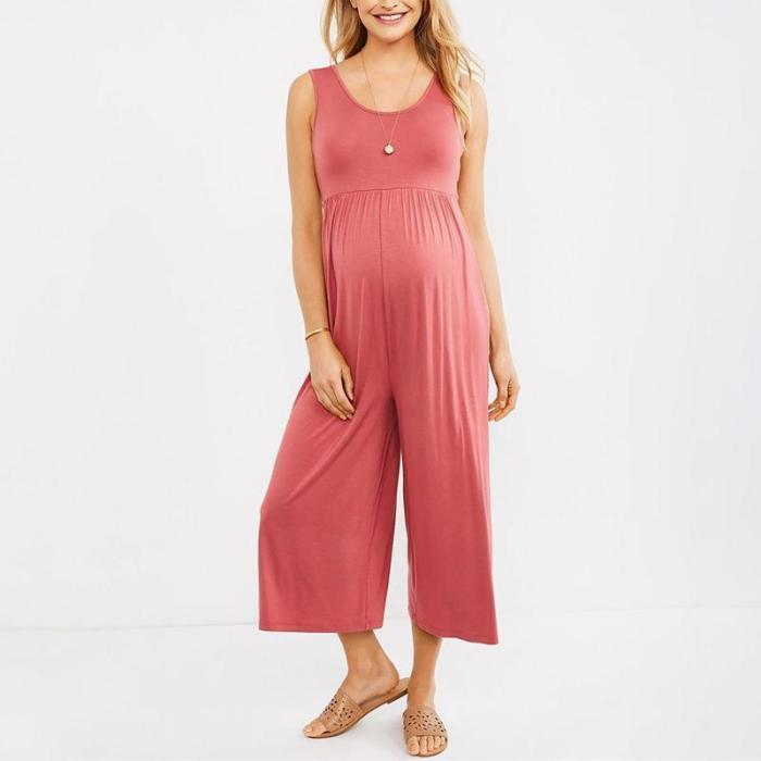 Maternity Casual V Neck Sleeveless Pure Colour Jumpsuit