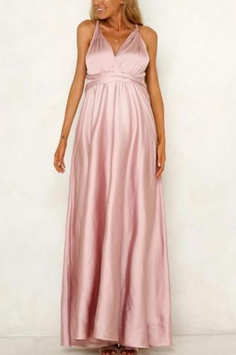 Maternity V-Neck Evening Dress