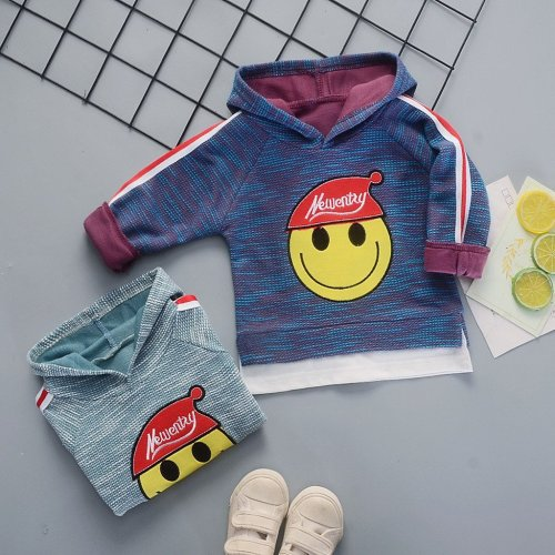 Baby Boy Hooded Pullover Smiling Face Printed Outfits Costume Long Sleeve Sweatshirt