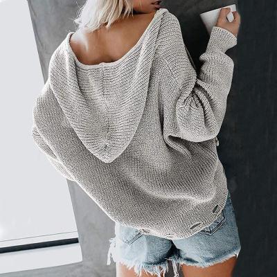 Maternity Hooded Zipper Loose Sweater