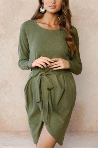 Maternity Irregular Waist Strap Dress