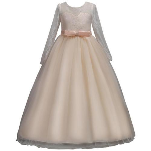 Bow Long Sleeve Lace Princess Evening Dress