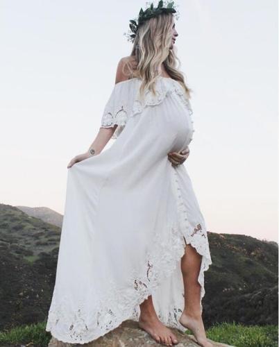 Maternity Lace  Pure Color Shoulderless Long Photo Shoot Dresses