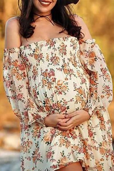 Maternity Word Collar Pritned Colour Dress
