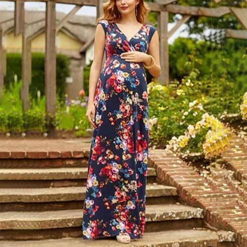 Maternity Elegant V Neck Flower Long Dress