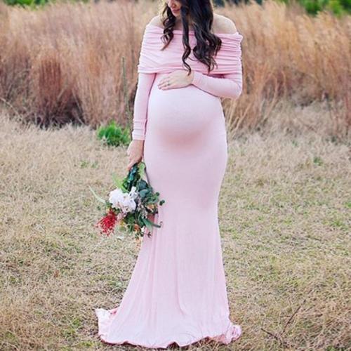 Maternity Elegant Off Shoulder Pure Color Long Sleeve Dress