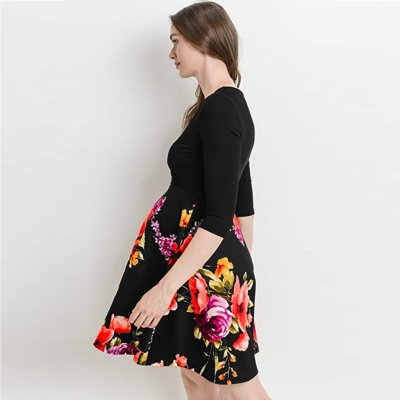 Casual Pregnant Half Sleeve Print Floral Patchwork Mini Dress