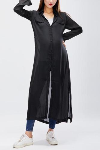 Maternity Fashionable Loose Long Sleeved Maxi Dress