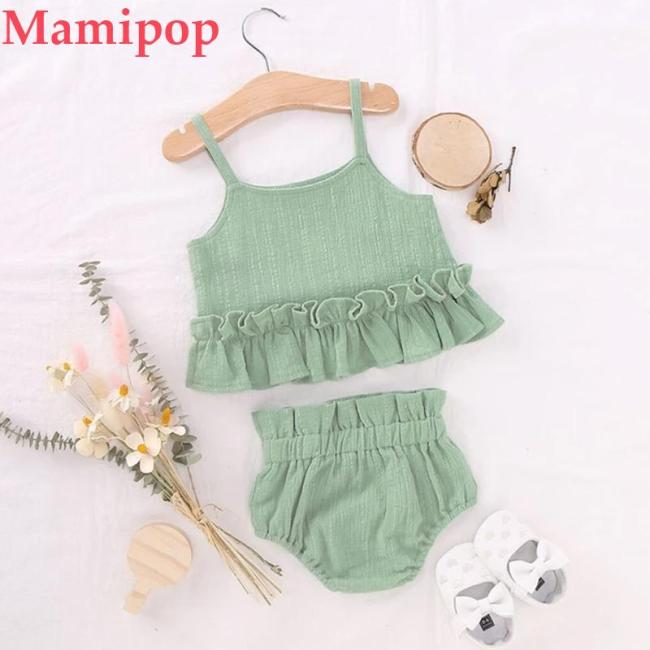 Cute Green Summer  Infant Girls Solid Sleeveless Ruffles Camisole Shorts Clothes