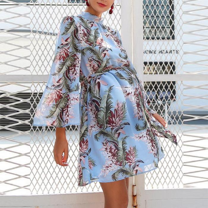 Maternity Sweet trumpet sleeve printed chiffon halter a-line dress