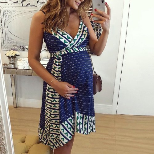 Maternity V-Neck Cami Dress With Belt