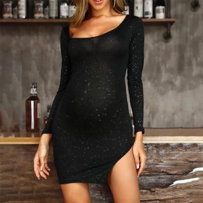 Maternity Low Round Neck Long Sleeve Dress