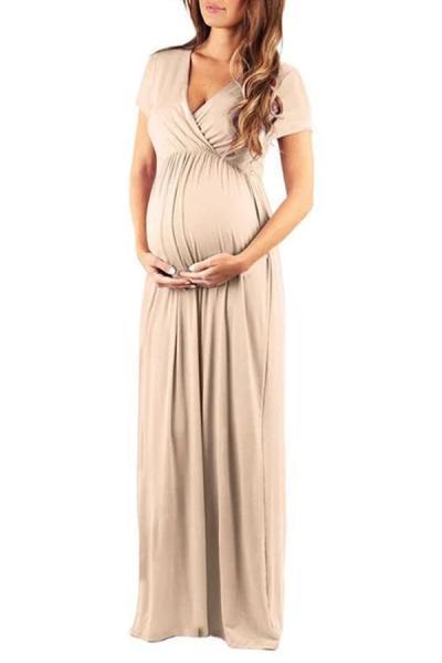 Maternity Elegant Pure Color Ankle-Length Dress