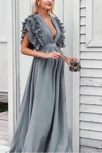 Maternity V-Neck Ruffled Short-Sleeved Dress