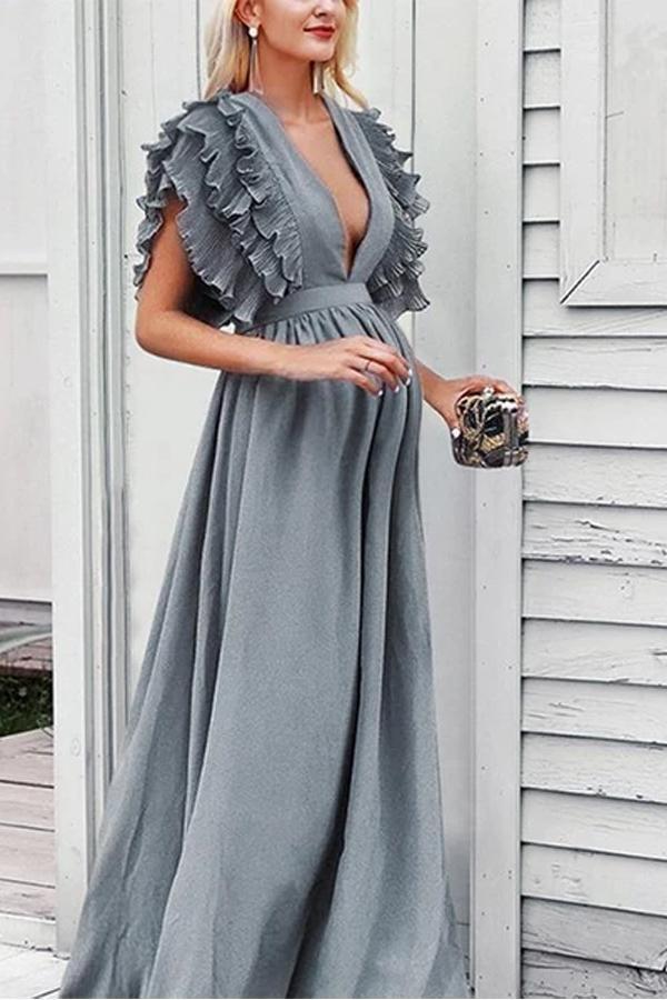 Maternity V-Neck Ruffled Short-Sleeved Dress
