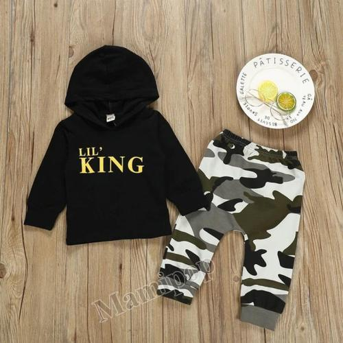 2020 boys' suits spring clothes fashionable new camouflage letters  two-piece set