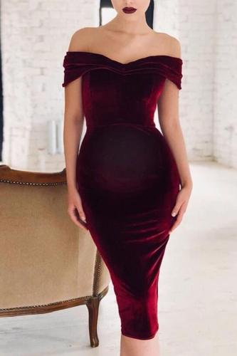 Maternity Women's sexy pure color collar off-shoulder dress
